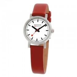 Reloj Mondaine Evo Petite Blanco Piel Roja 26 mm.