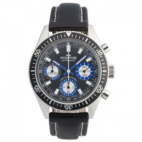 Reloj Fortis Marinemaster Vintage Crono Auto Negro Azul Piel Limited Edition 100 Aniversario