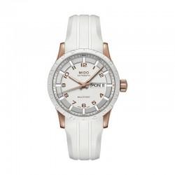 Reloj Mido Multifort Auto Blanco PVD Oro Rosa Caucho 38 mm