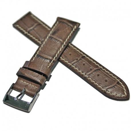 Correa Ferrer piel marrón Imit. cocodrilo 20 mm